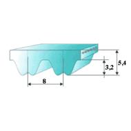 RPP8 fogprofilú fogasszíjak különböző fogszámmal